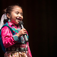 Alyssa Tia Little, 6, Navajo/Hopi on stage at the Tiny Tot Pageant, Monday, August 6, 2018 at El Morro Theatre, .
