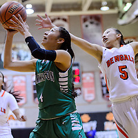 022715       Cable Hoover<br /> <br /> Farmington Scorpion Meeya Yazzie (4) escapes a block attempt from Gallup Bengal Kalisha Kinsel (5) during the district championship Friday at Gallup High School.