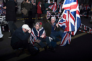 Leave supporters celebrate in Whitehall, London, United Kingdom on 31st January, 2020. The United Kingdom formally leaves the European Union at 23:00 GMT today.
