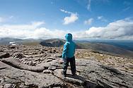 Little girl on the summit of Cairn Gorm Mountain, Cairngorms national park, Scotland © Rudolf Abraham