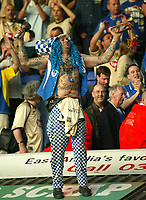 Photographer: Scott Heavey<br />Ipswich Town V Portsmouth. 18/04/03.<br />John Portsmouth Football Club Westwood celebrates Pompeys promotion despite the 3-0 defeat during this Nationwide Division one match at Portland Road.