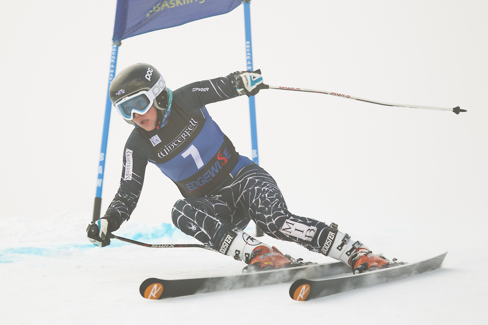 Yina Moe-Lange of Middlebury College, skis during the first run of the women's giant slalom at the Colby College Carnival at Sugarloaf Mountain on January 17, 2014 in Carabassett Valley, ME. (Dustin Satloff/EISA)