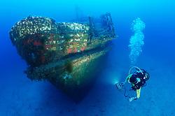 MV Karwela Wreck and Scuba diver, shipwreck, Wrack, Schiffswrack und Taucher, Gozo, Malta, Sued Europa, Mittelmeer, Mare Mediterraneum, SoUth Europe, Mediterranean Sea