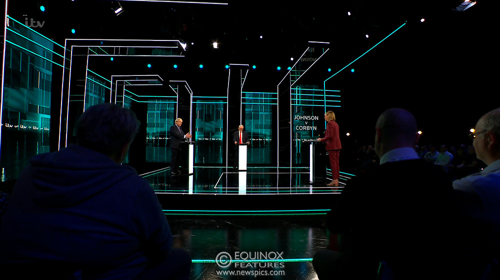 Broadcast TV, United Kingdom - 19 November 2019<br /> Labour leader Jeremy Corbyn and Prime Minister Boris Johnson debate live on ITV tonight as part of the 2019 general election campaign.<br /> (supplied by: Supplied by: EQUINOXFEATURES.COM)<br /> Picture Data:<br /> Contact: Equinox Features<br /> Date Taken: 20191119<br /> Time Taken: 201736<br /> www.newspics.com