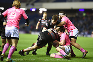 Murray McCallum is held up at the try line during the European Rugby Challenge Cup match between Edinburgh Rugby and Stade Francais at Murrayfield Stadium, Edinburgh, Scotland on 12 January 2018. Photo by Kevin Murray.