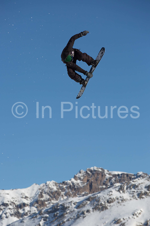 Great British freestyle Snowboarder Billy Morgan from GB Park & Pipe, the freestyle Ski and Snowboard Olympic development team, at their brand new winter training facility in Mottolino Snow Park on 7th December 2017 in Livingo, Italy. The Big Air Bag is the first of its kind and has been developed by the GB Park & Pipe's Hamish McKnight and Lesley McKenna. The air bag was built by BigAirBag company from Holland.
