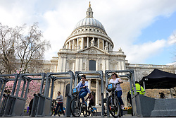 © Licensed to London News Pictures. 16/04/2013. London, UK. Security gates are seen outside St Paul's Cathedral a day before the funeral of former Prime Minister Margaret Thatcher, on April 16, 2013 in London. Photo credit : Peter Kollanyi/LNP