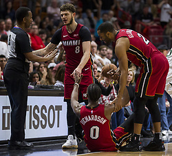 January 7, 2018 - Miami, FL, USA - Miami Heat's Tyler Johnson (8) asks referee James Capers (19) to review a foul call against Josh Richardson (0) in the fourth quarter on Sunday, Jan. 7, 2018 at the AmericanAirlines Arena in Miami, Fla. The Miami Heat defeated the Utah Jazz, 103-102. (Credit Image: © Matias J. Ocner/TNS via ZUMA Wire)