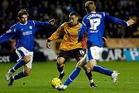 Photo: Leigh Quinnell.<br /> Wolverhampton Wanderers v Leicester City. Coca Cola Championship. 09/12/2006. Wolves' Craig Davies can't find a way through Leicesters Gareth Williams(L) and Richard Stearman.