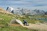 Campsite above Limestone Lakes Basin Mount Abruzzi is in the background, Height-of-the-Rockies Provincial Park British Columbia Canada