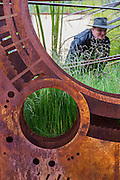 An astronomer on the National Schools Observatory Garden - RHS Chelsea Flower Show, Chelsea Hospital, London UK, 18 May 2015.