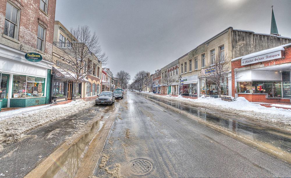 Looking south along a snowy Caroline Street.