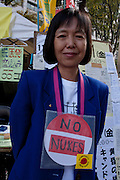 Tani Sonoko at an Anti nuclear protest by women outside the Ministry of Economy, Trade and Industry (METI) in Tokyo Japan. Friday November 4th 2011. The protest ran from October 27th to Noverber 5th. Originally started my mothers from Fukushima protesting about nuclear contamination from October 30th to November 5th the protest welcomed women and people from all over Japan.