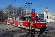 A double tram at the stop opposite the Prague Industrial Exhibition Palace in Holesovice district in Prague 7, on 20th March, 2018, in Prague, the Czech Republic.