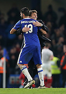 Chelsea's Diego Costa celebrates with Antonio Conte during the Premier League match at Stamford Bridge Stadium, London. Picture date December 31st, 2016 Pic David Klein/Sportimage