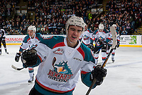 KELOWNA, CANADA - FEBRUARY 10: Erik Gardiner #12 of the Kelowna Rockets celebrates a goal against the Vancouver Giants on February 10, 2017 at Prospera Place in Kelowna, British Columbia, Canada.  (Photo by Marissa Baecker/Shoot the Breeze)  *** Local Caption ***