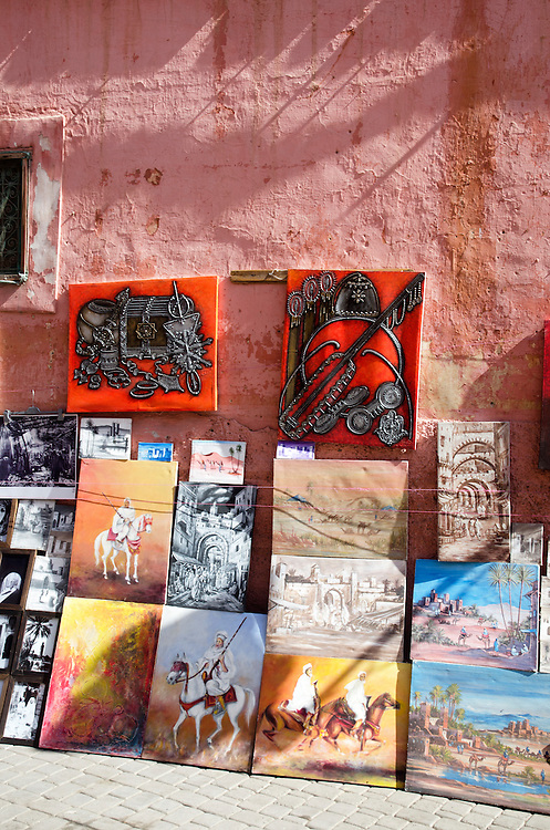 Displayed paintings in Marrakech medina Morocco