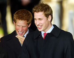 File photo dated 25/12/2003 of Prince William (right) and Prince Harry leave from St Mary Magdalene Church on the royal estate at Sandringham, Norfolk, following the Christmas Day service attended by members of the Royal Family. Prince Harry has asked his brother the Duke of Cambridge to be his best man at his wedding to Meghan Markle, Kensington Palace said.