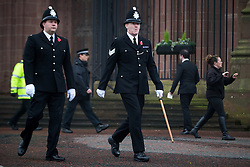 © Licensed to London News Pictures . 02/11/2015 . Liverpool , UK . Police at the funeral of Police Constable Dave Phillips , at Liverpool Cathedral . Five people are charged in connection with his death , including Clayton Williams , 18 , from Wallasey , who is charged with murder . Photo credit: Joel Goodman/LNP