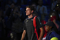 November 15, 2017 - London, England, United Kingdom - Spain's Pablo Carreno Busta arrives on court to play against Austria's Dominic Thiem during their men's singles round-robin match on day four of the ATP World Tour Finals tennis tournament at the O2 Arena in London on November 15 2017. (Credit Image: © Alberto Pezzali/NurPhoto via ZUMA Press)