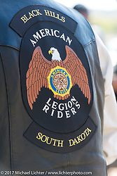 Back patches at a stop in Pierre during the USS South Dakota submarine flag relay across South Dakota on the first day from Sturgis to Aberdeen. SD. USA. Saturday October 7, 2017. Photography ©2017 Michael Lichter.