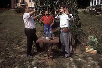 Chef Paul Bocuse and photographer Owen Franken drinking in Bocuse' garden near Lyon