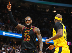 April 25, 2018 - Cleveland, OH, USA - The Cleveland Cavaliers' LeBron James (23) pumps up the crowd during the first quarter in Game 5 of a first-round playoff series on Wednesday, April 25, 2018, at Quicken Loans Arena in Cleveland. (Credit Image: © Leah Klafczynski/TNS via ZUMA Wire)