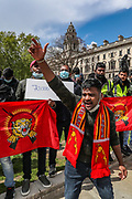 London, United Kingdom, May 18, 2021: Tamil activists gathered outside the Houses of Parliament, Westminster Palace London, on Tuesday, May 18, 2021, to demand recognition of the Tamil genocide and to demand the truth about the hundreds of thousands of Tamils who have disappeared in recent years. (Photo by Vudi Xhymshiti/VXP)