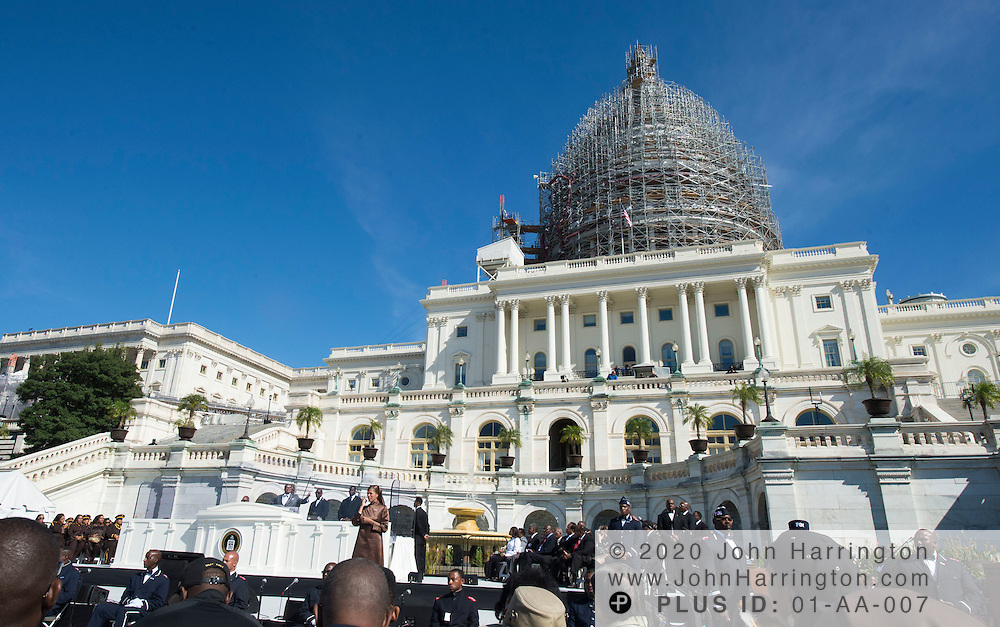 Rev. Louis Farrakhan speaks at an event marking the 20th anniversary of the Million Man March, Saturday, October 10, 2015 on the steps of the U.S. Capitol in Washington, DC.