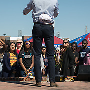 ORANGEBURG SC - MARCH 22: Democratic presidential candidate, Beto O'Rourke, speaks to a group of students and supporters outside of the Student Center Plaza at South Carolina State University<br />  in Orangeburg, SC on March, 22, 2019. (Logan Cyrus for The New York Times)