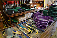 Everything you need for gold-mining! Selection of pans and picks, etc, at the Gold Prospecting store in Jamestown, California, USA. 201304201615<br />