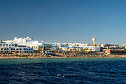 Image of a resort on the southern end of Sharm el-Sheikh, Egypt, taken from a tour boat.
