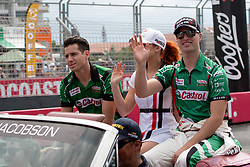 October 21, 2018 - Gold Coast, QLD, U.S. - GOLD COAST, QLD - OCTOBER 21: Rick Kelly and Garry Jacobson in the Castrol Racing Nissan Ultima during the parade lap at The 2018 Vodafone Supercar Gold Coast 600 in Queensland, Australia. (Photo by Speed Media/Icon Sportswire) (Credit Image: © Speed Media/Icon SMI via ZUMA Press)
