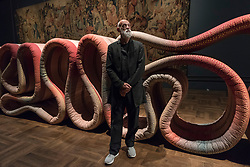 """© Licensed to London News Pictures. 15/09/2017. London, UK. British designer Ross Lovegrove presents """"Transmission"""", a 21 metre long fluid and free standing three dimensional tapestry, inspired by the Devonshire Hunting tapestries at the V&A museum in Kensington.  This work forms part of the London Design Festival, a programme of events and installations celebrating design taking place across the capital 16-24 September 2017.  Photo credit : Stephen Chung/LNP"""