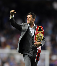 "Chelsea fan Darren Barker parades his belt around Stamford Bridge after his world title victory - Photo mandatory by-line: Joe Meredith/JMP - Tel: Mobile: 07966 386802 21/08/2013 - SPORT - FOOTBALL - Stamford Bridge - London - Chelsea V Aston Villa - Barclays Premier League - EDITORIAL USE ONLY. No use with unauthorised audio, video, data, fixture lists, club/league logos or ""live"" services. Online in-match use limited to 45 images, no video emulation. No use in betting, games or single club/league/player publications"