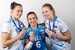 Tina Grudina, Maja Pahor and Lana Scuka of Slovenia with silver medals after the volleyball match between National team of Turkey and Slovenia in Gold Medal game of Womens U23 World Championship 2017, on September 17, 2017 in SRC Stozice, Ljubljana, Slovenia. Photo by Morgan Kristan / Sportida