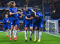 Football - 2018 / 2019 Emirates FA Cup - Fourth Round: Chelsea vs. Sheffield Wednesday<br /> <br /> Chelsea's Willian celebrates scoring the opening goal from the penalty spot after Cesar Azpilicueta was fouled by Sheffield Wednesday's Sam Hutchinson as coins and goggles are thrown from the away end, at Stamford Bridge.<br /> <br /> COLORSPORT/ASHLEY WESTERN