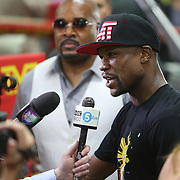 LAS VEGAS, NV - APRIL 14: WBC/WBA welterweight champion Floyd Mayweather Jr. is interviewed by members of the media before he works out at the Mayweather Boxing Club on April 14, 2015 in Las Vegas, Nevada. Mayweather will face WBO welterweight champion Manny Pacquiao in a unification bout on May 2, 2015 in Las Vegas.  (Photo by Alex Menendez/Getty Images) *** Local Caption *** Floyd Mayweather Jr.