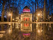 General Grant National Memorial, NYC, lit up in colors.