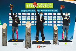 Ramona Theresia Hofmeister (GER) 2nd, Sofia Nadyrshina (RSF) 1st, Selina Joerg (GER) 3rd during medal ceremony after parallel slalom FIS Snowboard Alpine World Championships 2021 on March 2nd 2021 on Rogla, Slovenia. Photo by Grega Valancic / Sportida
