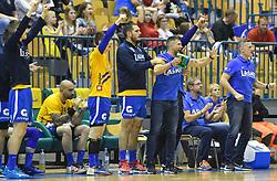 Tomaz Ocvirk of RK Celje reacts during handball match between RK Celje Pivovarna Lasko and RK Gorenje Velenje in last round of Liga NLB 2018/19, on May 31st, 2019, in Arena Zlatorog, Celje, Slovenia. RK Celje PL became Slovenian National Champion in year 2019. Photo by Milos Vujinovic / Sportida