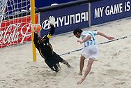 Football - FIFA Beach Soccer World Cup 2006 - Group D - Arg x Nga - Rio de Janeiro - Brazil 02/11/2006<br />Isa Abdullahi (Nig) and Baca Lucas during the game  Event Title Boad Mandatory Credit: FIFA / Ricardo Moraes