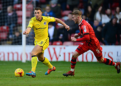 Lee Brown of Bristol Rovers under pressure from Jason McCarthy of Walsall - Mandatory by-line: Alex James/JMP - 21/01/2017 - FOOTBALL - Banks's Stadium - Walsall, England - Walsall v Bristol Rovers - Sky Bet League One