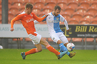 Blackburn Rovers' Adam Armstrong is tackled by Blackpool's trialist<br /> <br /> Photographer Kevin Barnes/CameraSport<br /> <br /> Football Pre-Season Friendly - Blackpool v Blackburn Rovers - Tuesday 25th August 2020 - Bloomfield Road - Blackpool<br /> <br /> World Copyright © 2020 CameraSport. All rights reserved. 43 Linden Ave. Countesthorpe. Leicester. England. LE8 5PG - Tel: +44 (0) 116 277 4147 - admin@camerasport.com - www.camerasport.com
