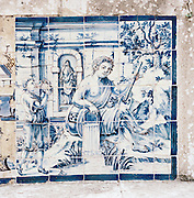 An Azulejo, a form of Portuguese painted ceramic tilework, on the wall in the Palácio dos Marqueses de Fronteira, Fronteira Palace, in Lisbon, Portugal