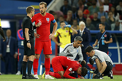 (l-r) referee Mark Geiger, Harry Kane of England, Dele Alli of England during the 2018 FIFA World Cup Russia round of 16 match between Columbia and England at the Spartak stadium  on July 03, 2018 in Moscow, Russia