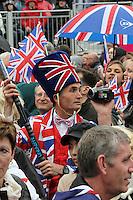 LONDON - JUNE 05: Union flag costumes, The Queen's Diamond Jubilee, The Mall, London, UK. June 05, 2012. (Photo by Richard Goldschmidt)