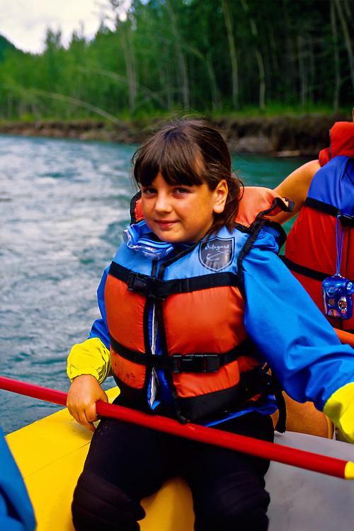 Girl, Whitewater rafting (with Glacier Raft Company), Flathead Valley, near West Glacier, Montana USA