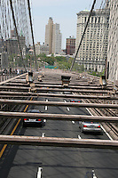 Traffic on the Brooklyn Bridge, New York, USA