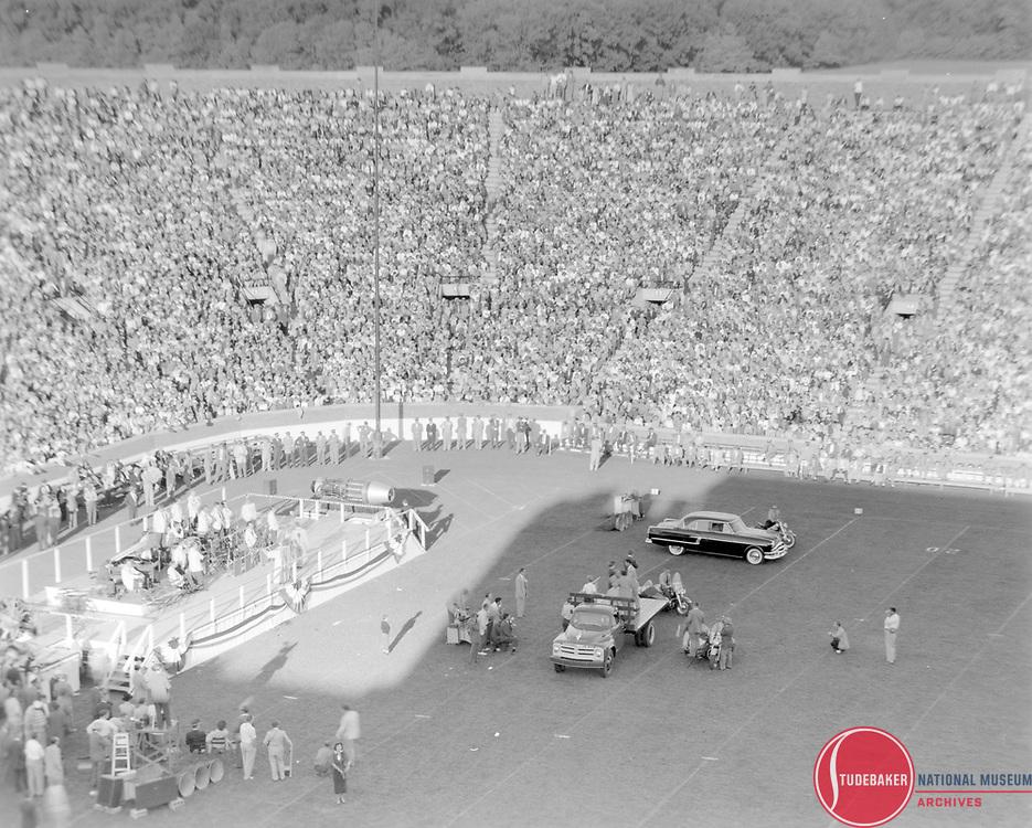 Studebaker-Packard merger rally at Notre Dame Stadium, October 1954.